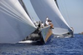 PORTO CERVO, SARDINIA - SEPT 6th 2006: The Wally maxi yacht J ONE (Fra) owned by Jean Charles Decaux (JC Decaux) power reaching under asymmetric spinnaker at the Maxi Yacht Rolex Cup 2006 in Porto Cervo, Sardinia. (Photo by Tim Wright/Kos Picture Source via Getty Images)
