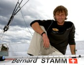 BILBAO, SPAIN - October 22nd 2006: Bernard Stamm (SUI), skipper of Open 60 Monohull  CHEMINƒES POUJOULAT. The Velux 5 Oceans is a three part round the world yacht race for the bravest of solo sailors. Leg 1 is approximately 12,000 miles from Bilbao in Spain to Fremantle in Western Australia. It is the ultimate test of sailing skill, stamina and endurance. (Rights restrictions may apply)