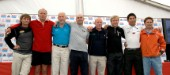 BILBAO, SPAIN - October 22nd 2006: The solo sailors in the Velux 5 Oceans yacht race. From left: Bernard Stamm (SUI), Graham Dalton (NZL), Sir Robin Knox-Johnston (GBR), Unai Basurko de Miguel (ESP), Mike Golding (UK), Alex Thompson (UK), Kojiro Shiraishi(JPN) and Tim Troy (USA). The Velux 5 Oceans is a three part round the world yacht race for the bravest of solo sailors. Leg 1 is approximately 12,000 miles from Bilbao in Spain to Fremantle in Western Australia. It is the ultimate test of sailing skill, stamina and endurance. (Rights restrictions may apply)