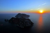Capri - Italy -. Aereal View of Capri Island at sunset