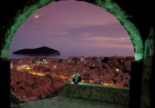 Dubrovnik - Croatia. The Old Town seen from the Minceta Tower by night