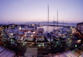 Ormeggi. A view of the harbour at sunrise through a fish eye lens