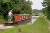 Approaching Grindley Brook locks,Llangollen canal,Whitchurch,Shropshire,England.July 2006.