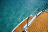 Immacultaely cleaned aft decks of a power boat