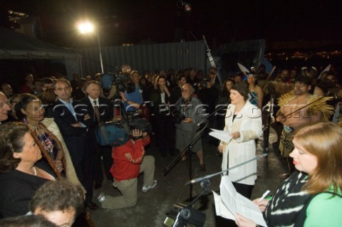 NZ prime Minister Helen Clark addresses the media and invited guests at the Tourisim New Zealand Cul