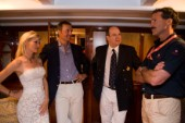 VALENCIA, SPAIN - May 14th: Americas Cup yachtsman Paul Cayard (USA right) who is presently representing Desafio Espanol, meets with HRH Prince Albert of Monaco (2nd right), Ernesto Bertarelli owner of Alinghi (3rd right) and his wife Kirsten, onboard the classic yacht Tuiga at the exclusive Tuiga Party during the Louis Vuitton Cup Semi Finals.