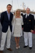 VALENCIA, SPAIN - May 14th:  Ernesto Bertarelli (left) head of Alinghi with his wife Kirsten meets HRH Prince Albert of Monaco during the Louis Vuitton Cup.
