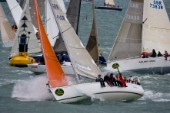 COWES, ENGLAND - August 13th: The fleet of nearly 300 racing yachts leaves Cowes on the Isle of Wight to begin the 605 mile Rolex Fastnet Race on August 13th 2007. The yachts race to the Fastnet Rock off southern Ireland and back to the finish in Plymouth, England.