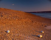 Late winter sunlight enhances orange colour of pebbles on Hurst Beach Hampshire. Three pebbles in foreground echoed by two small white clouds.sunrise sunset pebbles stones beach seashore hampshire uk solent hurst atmospheric natural patterns