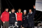 2008 VENDEE GLOBE.Finish. Solo round the world sailing race non stop without assistance (24840 NM). With Marc Guillemot (right) skippers he have invited to share with him his arrival in Les sables dOlonne port, from left,Kito de Pavant(FRA), Yann Elies (FRA), Jean Le Cam (FRA), Roland Jourdain (FRA) and Sam Davies (GBR).