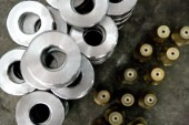 Yacht builders and skilled workers boatbuilding at the Cheoy Lee shipyard and boatbuilders in China. Detail of washers.