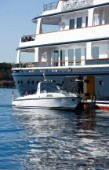 Luxury superyacht Leander owned by Sir Donald Gosling moored by Les Iles des Lerins near Cannes, South of France.