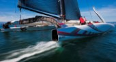 Alinghi 5, the giant catamaran multihull which will defend the 33rd Americas Cup sailing on Lake Geneva. (Editorial Only)
