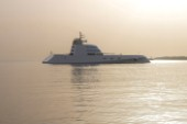 Superyacht called A, designed by Philippe Stark, anchored off Porto Cervo in Sardinia. Owner: Roman Abramovich