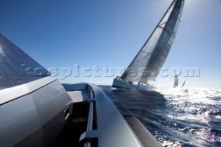 Sailing superyacht Visione racing in the Superyacht Cup 2010 in Antigua in the Caribbean