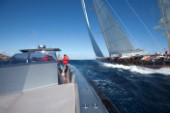 Sailing superyacht Rebecca racing in the Superyacht Cup 2010 in Antigua in the Caribbean