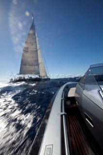 Sailing superyacht P2 racing in the Superyacht Cup 2010 in Antigua in the Caribbean