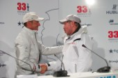 Larry Ellison winner Americas Cup shaking hands with the loser Ernesto Bertarelli of Alinghi