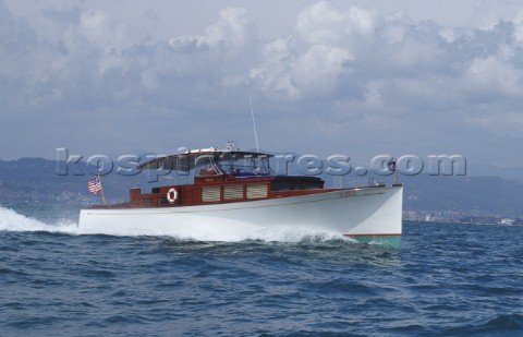 The 52ft classic powerboat launch Marlin once owned by John F Kennedy JFK