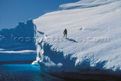 Man on glacier