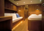 Luxury interior guest stateroom of Swan 80 maxi yacht