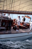 Crew on aft deck on classic sailing yacht Adix