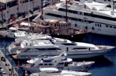Superyachts moored in the port of Saint Tropez, France