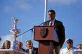 American Americas Cup skipper Dennis Conner during a presentation of the Americas Cup in 1987