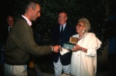 Mr & Mrs Andre Heiniger, President of Rolex, present the awards to Steffano Pastrovich of Wally YachtsMaxi Yacht Rolex Cup 1995. Porto Cervo, Sardinia.