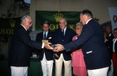 From right: His Highness the Aga Khan, Mr & Mrs Andre Heiniger, President of Rolex Geneva and Gian Riccado Marini, President of Rolex Italy, present the awards to King Constantine of Greece. Maxi Yacht Rolex Cup 1995. Porto Cervo, Sardinia.