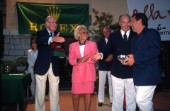 Hi Highness the Aga Khan and Mr & Mrs Heiniger from Rolex present the awards.Maxi Yacht Rolex Cup 1995. Porto Cervo, Sardinia.