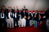 Rolex Commodores Cup 1998. The Solent, Cowes, Isle of Wight, UK. Three boat teams from around the world compete for the coveted RORC trophy. The event is hosted by the Royal Yacht Squadron.