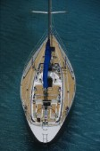 Elevated view of a sailboat at anchor