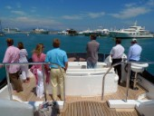 Owner helms superyacht with guests onboard in the Mediterranean