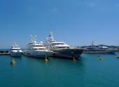Superyachts moored in Antibes in the Mediterranean