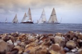 Arty shot of beach and shingle and stones with Rolex Commodores Cup fleet behind