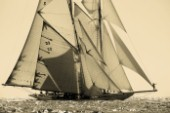 Sepia of classic yachts Tuiga and Elenora