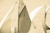 Sepia of classic yacht sails