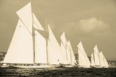 Sepia of classic yacht fleet during a start in Les Voiles de Saint-Tropez