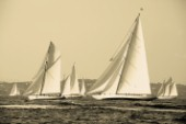 Sepia of classic yacht Cambria