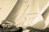 Sepia of classic yacht J Class Velsheda