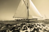 Sepia of classic yacht Avel