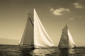 Sepia of classic yacht Mariquita and Tuiga