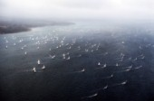 Round the Island Race 1991 - Isle of Wight, UK. Each year 1,500 yachts compete in this annual fleet regatta.