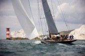 COWES, UNITED KINGDOM - JULY 21: J Class Lionheart (NL). Three J Class yachts race around the Isle of Wight for the One Hundred Guinea Cup celebrating the first Americas Cup in 1851 on July 21st 2012.