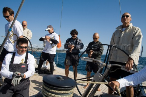 SAINTTROPEZ FRANCE  October 5th The crew onboard the Wally maxi yacht Dangerous But Fun of Monaco ow