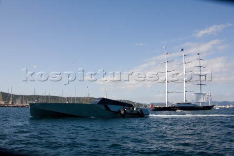 SAINTTROPEZ FRANCE  October 5th The worlds most contemporary powerboat the Wallypower 118 owned by L