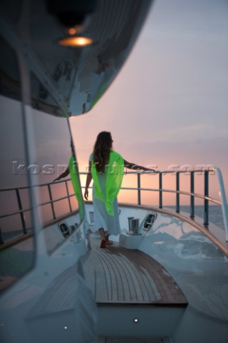 Woman on a superyacht