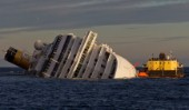 The passenger cruise ship Costa Concordia hit rocks and ran aground at 9.45pm on the Island of Giglio on January 13th 2012. The wrecked ship lays on a reef heeled on its side.