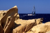 Swan Cup 2000. Fleet of Nautor Swan yachts racing off Porto Cervo